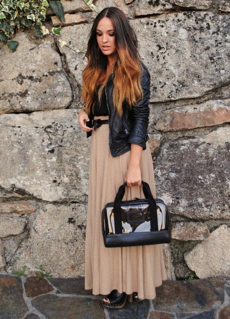 бежевая юбка и косуха