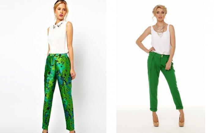 Зеленые брюки женские