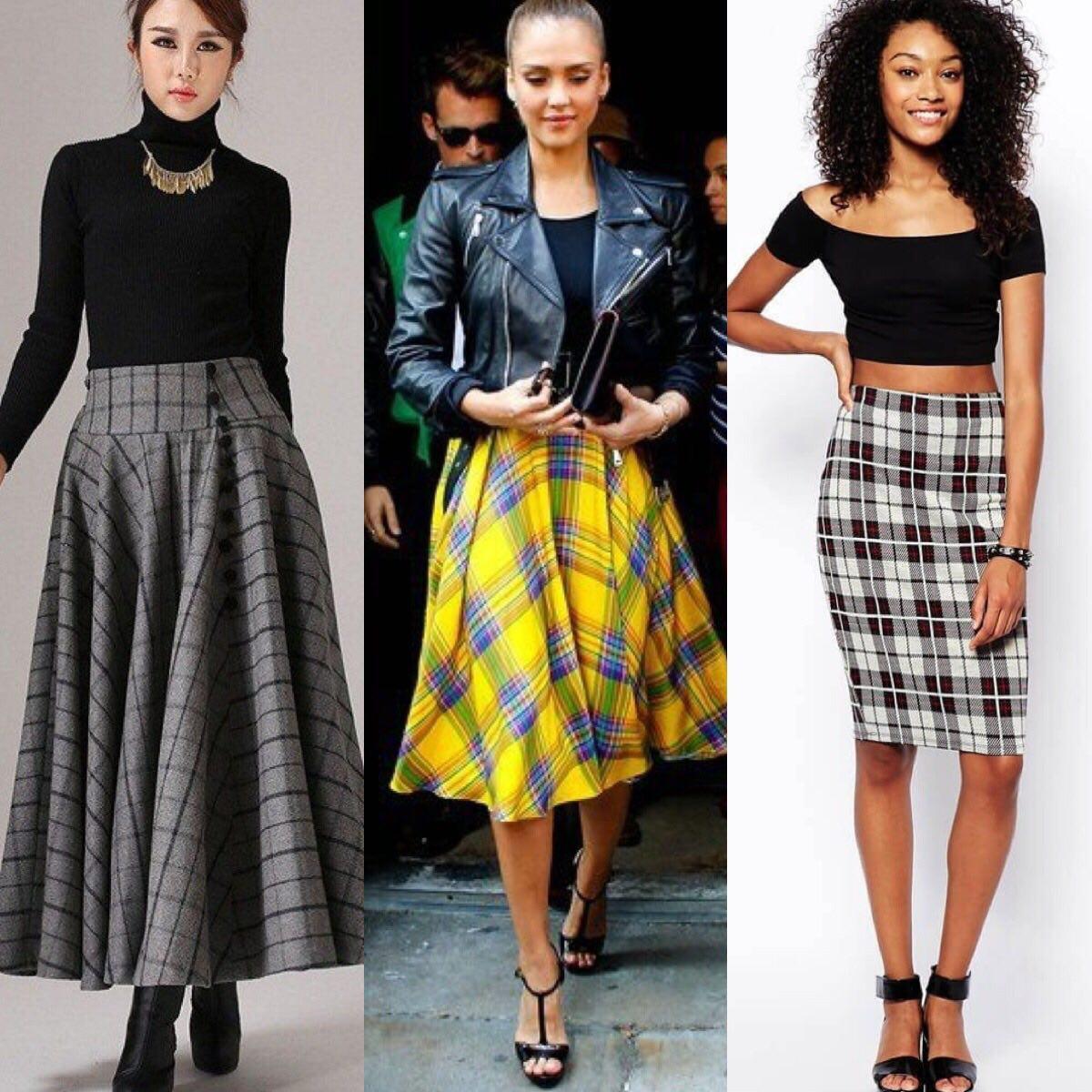 С чем носить клетчатую юбку