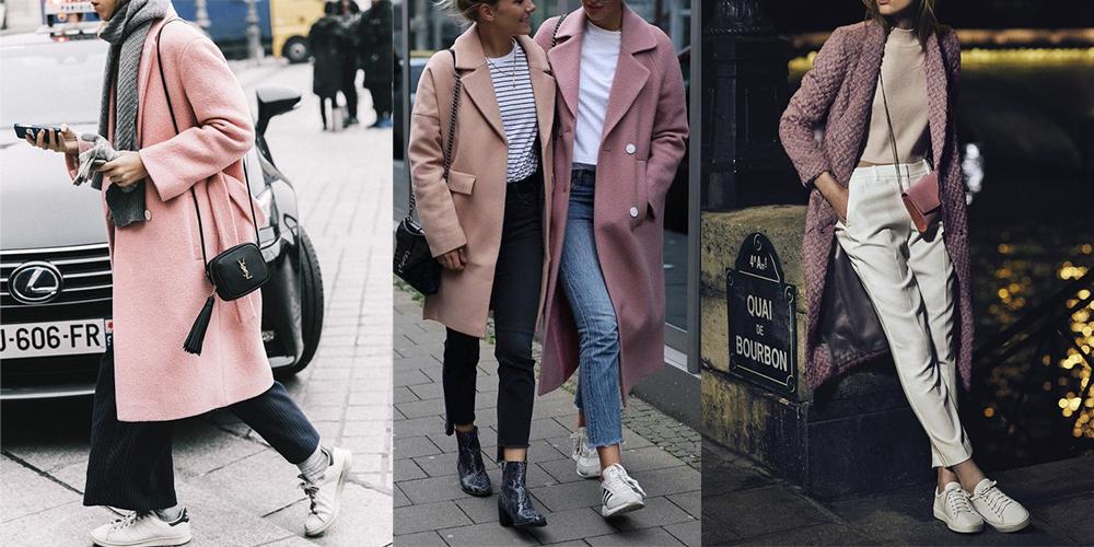как носить розовое пальто