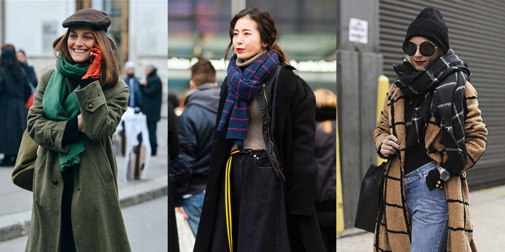 как носить пальто с шарфом