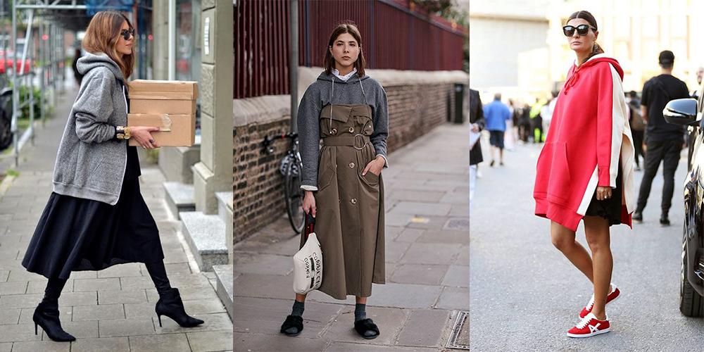 как красиво носить женское худи оверсайз с платьем