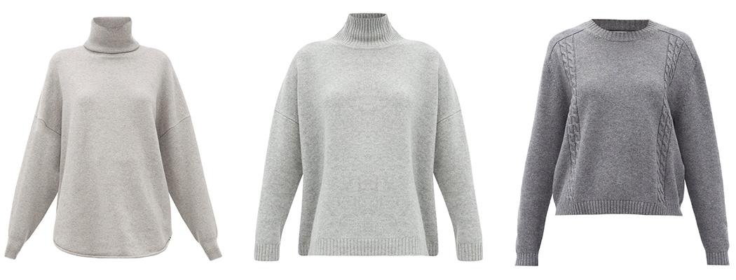 серый свитер зима-весна 2021