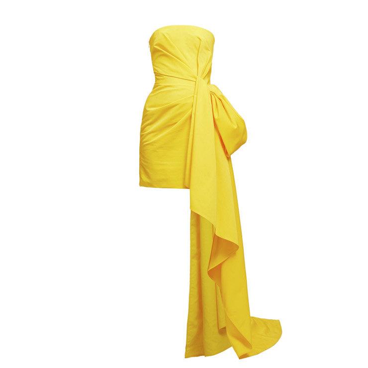 желтое вечернее платье с чем надеть