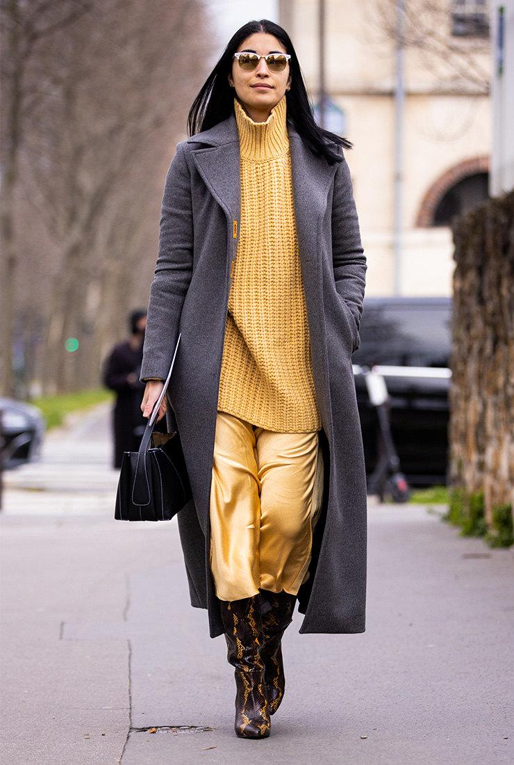 серое пальто с чем носить 2021