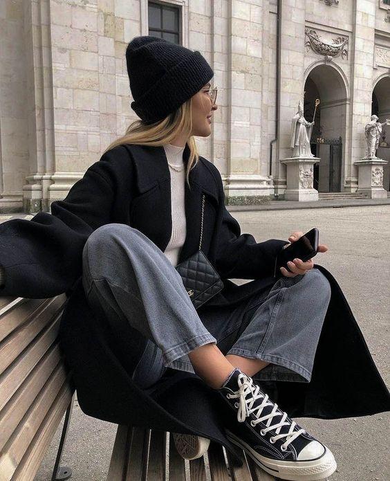 образы оверсайз пальто черное 2021