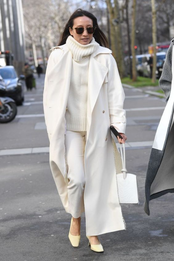 белое пальто оверсайз образы
