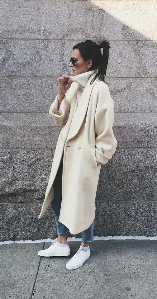 пальто белое 2021 оверсайз с чем носить