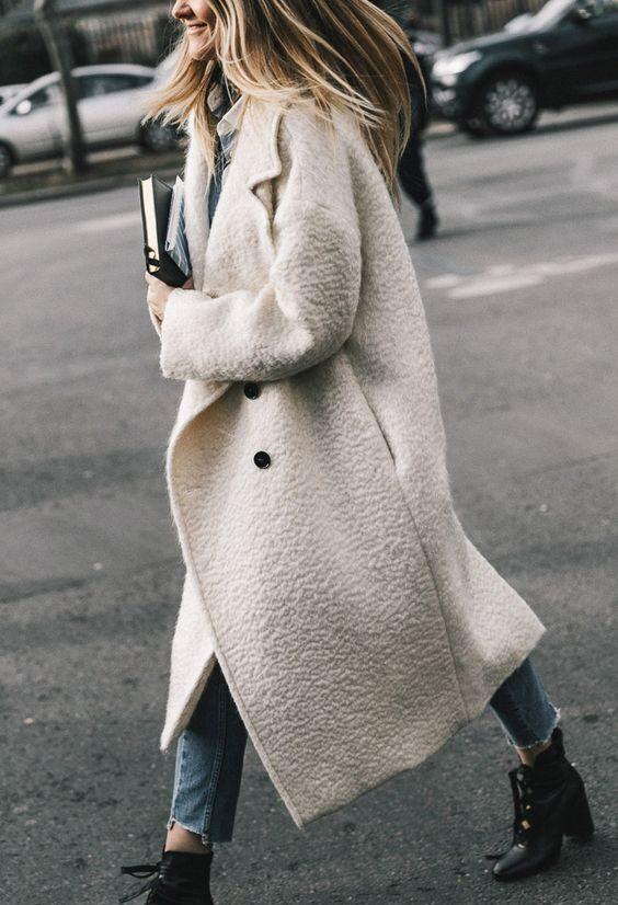 пальто белое как носить оверсайз