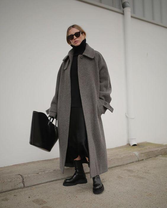 с чем носить серое пальто овесайз образы 2021